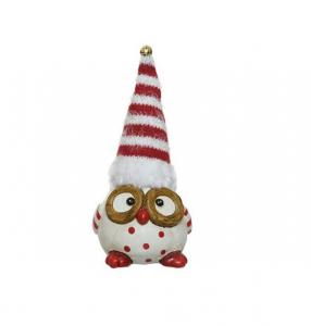 Figurine hibou pull à pois et bonnet rayé - 16 cm