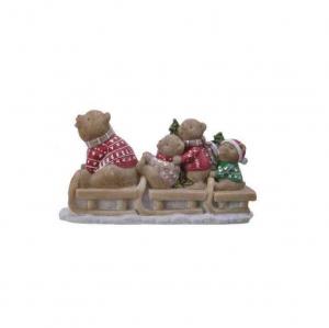 Figurine ours sur une luge - 6 X 18,5 X11 cm