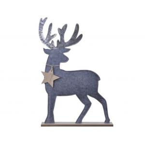 Renne - Feutre - Paillettes - Gris brumeux - 6x26x39,5 cm
