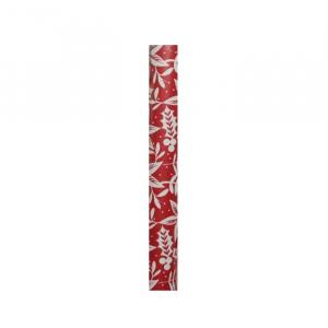 Papier cadeau rouge à feuilles blanches- 200 cm