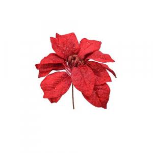 Poinsettia - Paillettes - Rouge - 25 cm