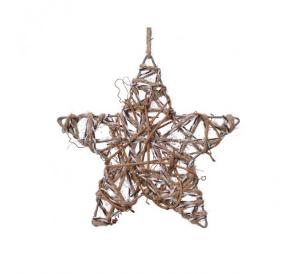 Etoile de Noël - A suspendre - Pailettes - Naturel - 15x0,5 cm
