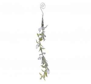 Suspension petites feuilles givrées - 15 cm