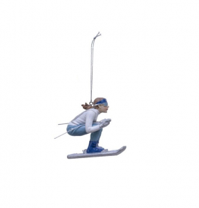 Suspension skieuse accroupie - 6,5 X 13cm