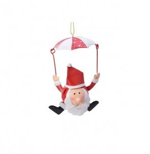 Suspension Père Noël en parachute - Métal - 12 cm