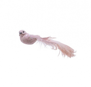 Suspension oiseau - Rose clair - 16 cm