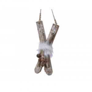 Skis en bouleau - Suspension - Naturel - 25 cm