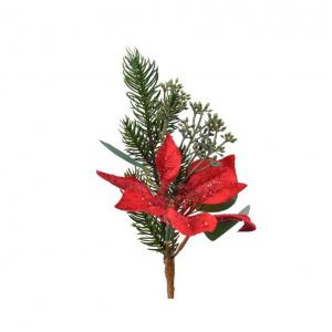 Branche pointsettia - Rouge/vert - 25 cm