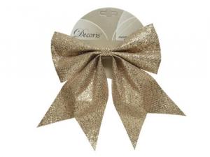 Nœud - Polyester - Paillettes - Champagne - 3x20x24 cm