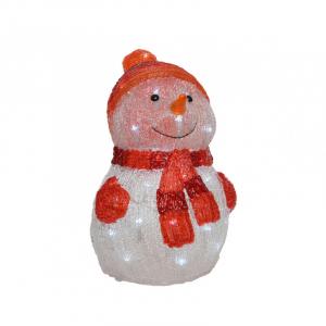 Bonhomme de neige - LED - Blanc froid et rouge - 25x25x35 cm