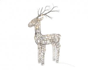 Renne en osier lumineux - LED - Marron et blanc chaud -  45x24x104 cm