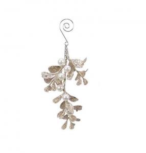 Suspension feuilles - Or clair et paillettes - 6 X 14 cm