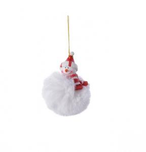 Boule pompon Bonhomme de neige - 7 X 7 X8 cm