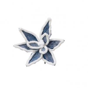 Suspension fleur - Bleu nuit et blanc -Effet fourrure - Ø20 cm