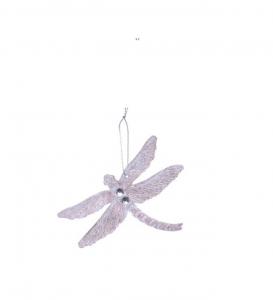 Suspension libellule - Rose - 10 X 12,5cm