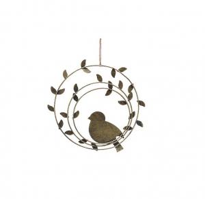 Suspension oiseau et cercle en métal - Or - Ø18 cm