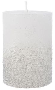 Bougie pilier cire - Blanc d'hiver - Paillettes - Ø 7 cm - 10 cm