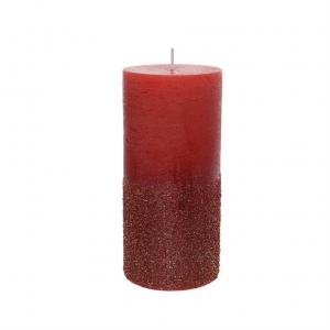 Bougie pilier cire - Rouge noël - Paille ttes - Ø 7 cm - 15 cm