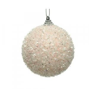 Boule de Noël -  Mousse - Rose poudré -Ø 10 cm