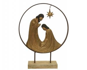 Figurine Jéus et Marie en bois de manguier - 49 cm