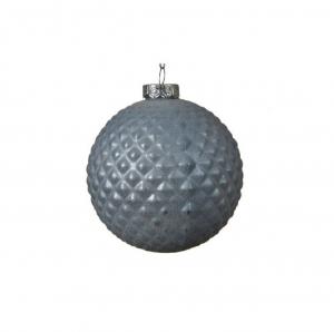 Boule écailles - Bleu gris - Verre - Ø10 cm