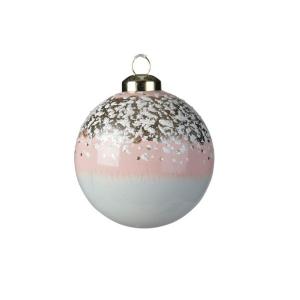 Boule émail - Rose poudré et blanc - Verre - Ø8 cm