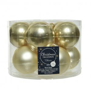 Lot de 10 boules de Noël - Unies brillantes/Mat - Champagne - Ø 6 cm