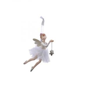 Suspension danseuse étoile - Blanc et argent - 13 cm