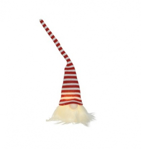 Lutin lumineux à bonnet rayé - Rouge etblanc - 23 cm