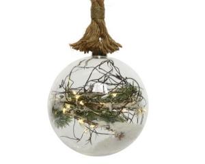 Boule de Noël - Pin artificiel - Corde Jute - Micro-LED - Blanc chaud - Ø 20 cm