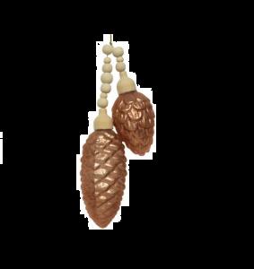 Suspension pommes de pin - Marron - Verre et bois - 10,5 cm