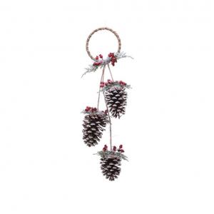 Suspension anneau depommes de pin et ba ies - 13 X 60 cm