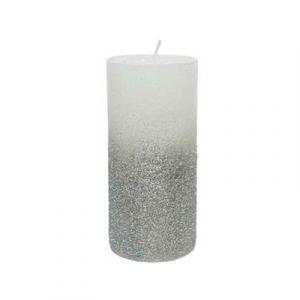 Bougie pilier cire - Argent - Paillettes - Ø 7 cm - 15 cm