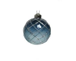 Boule motifs carreaux - Bleu et argent - Ø 8 cm