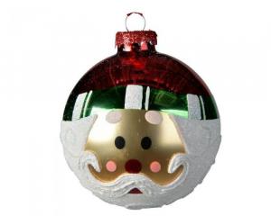 Boule tête de Père Noël - Verre - Ø8 cm