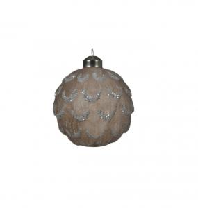 Boule effet pomme de pin - Beige et paillettes - Verre - Ø10 cm