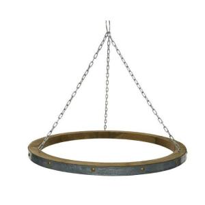 Suspension ronde en bois et chaîne - Ø 80 cm