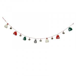 Guirlande - Chapeaux/cloches - Corde blanc/rouge - 92 cm