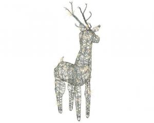 Renne en osier lumineux - LED - Marron et blanc chaud -  26x23x69 cm