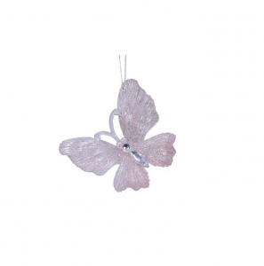 Suspension papillon - Rose nacré - 10 X11 cm