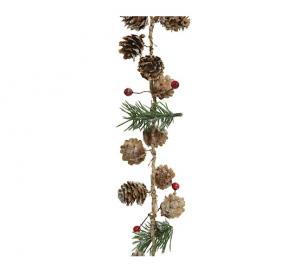 Guirlande - Pommes de pin/baies rouges et pin artificiel - Paillettes - 150 cm