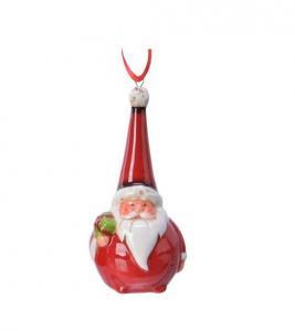 Suspension Père Noël rond - Rouge - 11 cm