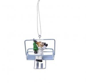 Suspension renne en télésiège - 8,5 X 7cm