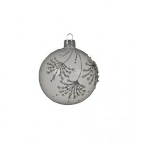 Boule motifs branches pailletées - Blanc - Verre - Ø8 cm