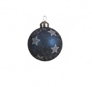 Boule étoiles -  Bleu nuit et argent - Verre - Ø8 cm