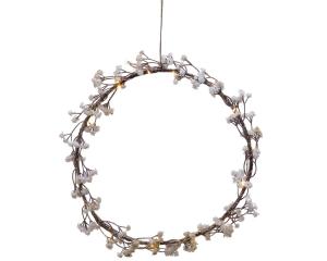 Couronne de fleurs - Micro-LED - Blanc chaud - Ø 28 cm