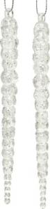 Lot de 2 stalactites - Suspension - Ruban argent - transparent - 14,5 cm