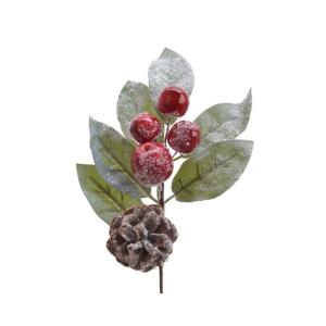 Suspension - Baies mousse/Verdure/Pommes  de pin - Vert/rouge - Paillettes - 18c m