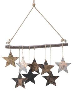 Suspension de 9 étoiles - En fer et bois -  35X25 cm