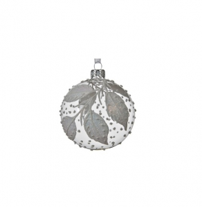 Boule feuilles et pois - Verre - Transparente et blanche - Ø8 cm